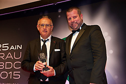 CARDIFF, WALES - Monday, October 5, 2015: The father of Tom O'Sullivan pics up the Young Player of the Year Award during the FAW Awards Dinner at Cardiff City Hall. (Pic by David Rawcliffe/Propaganda)