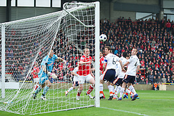 WREXHAM, WALES - Monday, May 7, 2012: Wrexham's player-manager Andrew Morrell watches as the first goal is scored against Luton Town to make it 2-1 (3-1) during the Football Conference Premier Division Promotion Play-Off 2nd Leg at the Racecourse Ground. (Pic by David Rawcliffe/Propaganda)