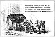 Delivering coal.  The wagon has broad wheels to make its passage over bad roads smooth.  Illustration from children's book, London 1860. Wood engraving