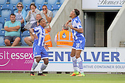 Colchester Utd forward Kurtis Guthrie celebrates with Colchester Utd defender Richard Brindley after scoring a goal the EFL Sky Bet League 2 match between Colchester United and Exeter City at the Weston Homes Community Stadium, Colchester, England on 3 September 2016. Photo by Nigel Cole.