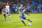 Wycombe Wanderers defender Joe Jacobson score from the penalty spot to make it 2-0 for Wycombe during the EFL Sky Bet League 1 match between Bolton Wanderers and Wycombe Wanderers at the University of  Bolton Stadium, Bolton, England on 15 February 2020.