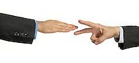 scissors cut paper hand gesture game