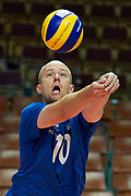 Katowice, Poland - 2017 September 03: Athlete Jukka Lehti from SO Finland receives the ball while final match between SO Russia and SO Finland during European Unified Volleyball Tournament 2017 at Spodek Hall on September 03, 2017 in Katowice, Poland.<br /> <br /> Adam Nurkiewicz declares that he has no rights to the image of people at the photographs of his authorship.<br /> <br /> Picture also available in RAW (NEF) or TIFF format on special request.<br /> <br /> Any editorial, commercial or promotional use requires written permission from the author of image.<br /> <br /> Image can be used in the press when the method of use and the signature does not hurt people on the picture.<br /> <br /> Mandatory credit:<br /> Photo by &copy; Adam Nurkiewicz / Mediasport