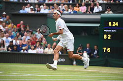 Roger Federer (SUI) during his fourth round match one at the 2019 Wimbledon Championships at the AELTC in London, GREAT BRITAIN, on July 6, 2019. Photo by Corinne Dubreuil/ABACAPRESS.COM