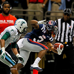 September 22, 2012; New Orleans, LA, USA; Ole Miss Rebels running back Jeff Scott (3) reaches across the goal for a touchdown past Tulane Green Wave cornerback Lorenzo Doss (6) during the first quarter of a game at the Mercedes-Benz Superdome.  Mandatory Credit: Derick E. Hingle-US PRESSWIRE