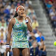 2019 US Open Tennis Tournament- Day Four.  Coco Gauff of the United States reacts during her match against Timea Babos of Hungary in the Women's Singles Round Two match on Louis Armstrong Stadium at the 2019 US Open Tennis Tournament at the USTA Billie Jean King National Tennis Center on August 29th, 2019 in Flushing, Queens, New York City.  (Photo by Tim Clayton/Corbis via Getty Images)