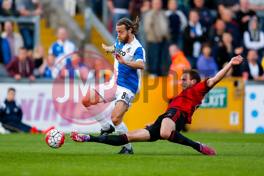 Stuart Sinclair of Bristol Rovers is challenged by Craig Dawson of West Brom - Mandatory byline: Rogan Thomson/JMP - 07966 386802 - 31/07/2015 - FOOTBALL - Memorial Stadium - Bristol, England - Bristol Rovers v West Bromwich Albion - Phil Kite Testimonial Match.