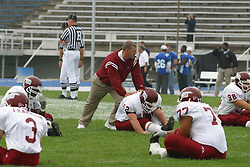 12 October 2002: Pre-game Colonels warm up stretches. Eastern Illinois University Panthers host and defeat the Colonels of Eastern Kentucky during EIU's Homecoming at Charleston Illinois.