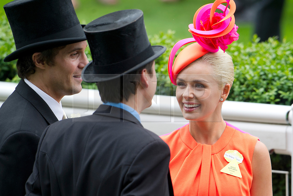 © London News Pictures. 18/06/2013. Ascot, UK.  Singer Katherine Jenkins attending day one of Royal Ascot at Ascot racecourse in Berkshire, on June 18, 2013.  The 5 day showcase event,  which is one of the highlights of the racing calendar, has been held at the famous Berkshire course since 1711 and tradition is a hallmark of the meeting. Top hats and tails remain compulsory in parts of the course. Photo credit should read: Ben Cawthra/LNP