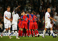 Photo: Chris Ratcliffe.<br /> Crystal Palace v Southend United. Coca Cola Championship. 08/08/2006.<br /> Palace players celebrate Mark Hudson (obscured) scoring the third Palace goal as Southend players are gutted.
