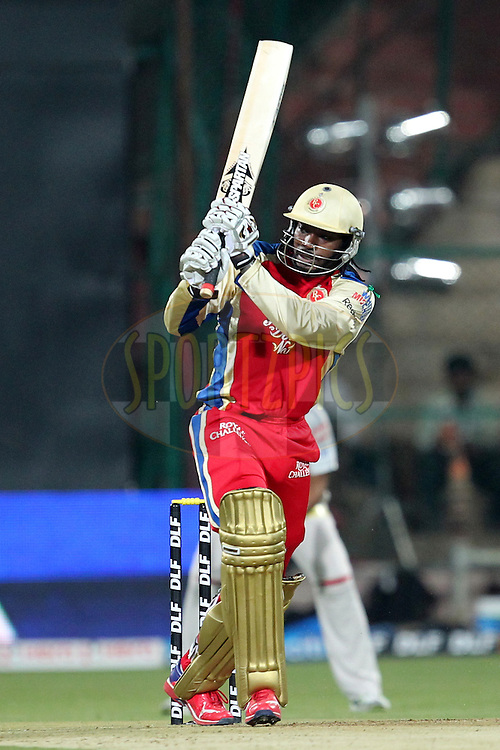 Chris Gayle during match 44 of the the Indian Premier League ( IPL) 2012  between The Royal Challengers Bangalore and the Kings XI Punjab held at the M. Chinnaswamy Stadium, Bengaluru on the 2nd May 2012..Photo by Prashant Bhoot/IPL/SPORTZPICS