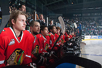 KELOWNA, CANADA - APRIL 25: The Portland Winterhawks sit on the bench against the Kelowna Rockets on April 25, 2014 during Game 5 of the third round of WHL Playoffs at Prospera Place in Kelowna, British Columbia, Canada. The Portland Winterhawks won 7 - 3 and took the Western Conference Championship for the fourth year in a row earning them a place in the WHL final.  (Photo by Marissa Baecker/Getty Images)  *** Local Caption *** Bench;