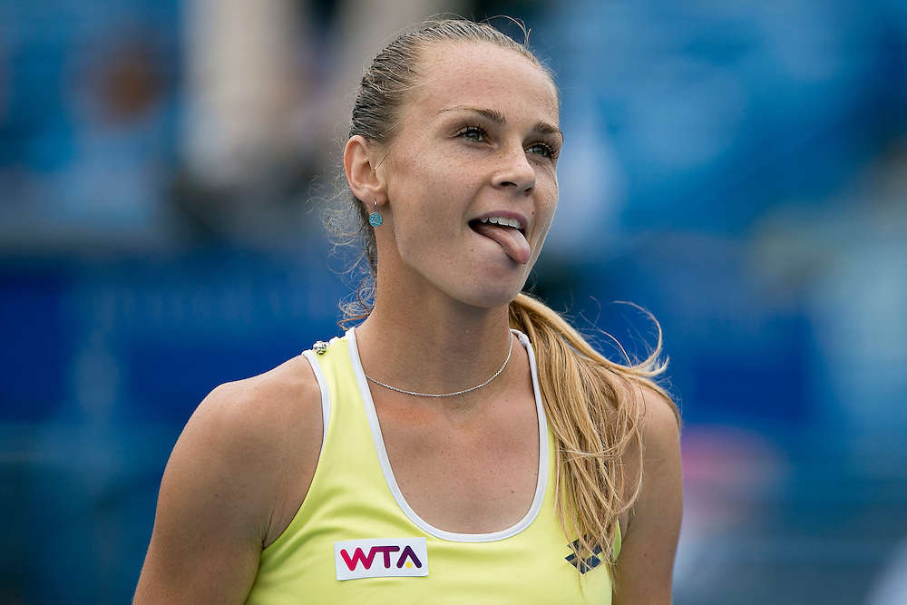 August 22, 2014, New Haven, CT:<br /> Magdalena Rybarikova reacts during the semi-final match against Camila Giorgi on day eight of the 2014 Connecticut Open at the Yale University Tennis Center in New Haven, Connecticut Friday, August 22, 2014.<br /> (Photo by Billie Weiss/Connecticut Open)