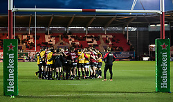 Toulon players huddle during the pre match warm up<br /> <br /> Photographer Simon King/Replay Images<br /> <br /> European Rugby Champions Cup Round 6 - Scarlets v Toulon - Saturday 20th January 2018 - Parc Y Scarlets - Llanelli<br /> <br /> World Copyright © Replay Images . All rights reserved. info@replayimages.co.uk - http://replayimages.co.uk