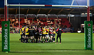 Toulon players huddle during the pre match warm up<br /> <br /> Photographer Simon King/Replay Images<br /> <br /> European Rugby Champions Cup Round 6 - Scarlets v Toulon - Saturday 20th January 2018 - Parc Y Scarlets - Llanelli<br /> <br /> World Copyright &copy; Replay Images . All rights reserved. info@replayimages.co.uk - http://replayimages.co.uk