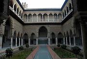 Seville, Spain.<br />The Moorish interior of the Alcazar Palace