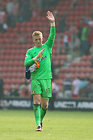 Football - 2016 / 2017 Premier League - Southampton vs. Sunderland<br /> <br /> Sunderlands Jordan Pickford takes the applause from the fans after a fine performance at St Mary's Stadium Southampton <br /> <br /> Colorsport/Shaun Boggust