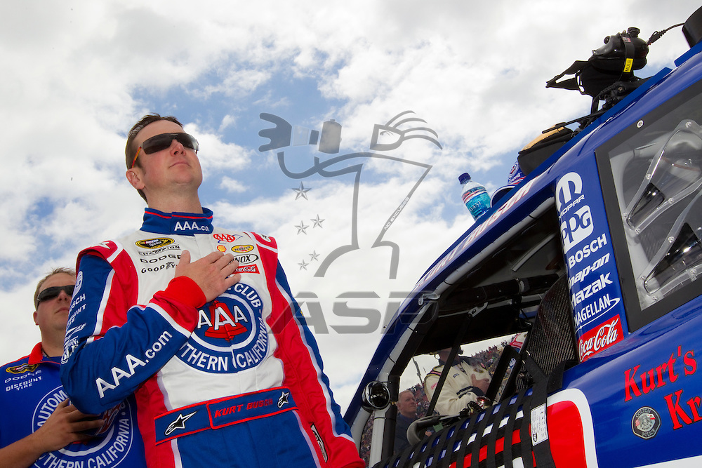 FONTANA, CA - MAR 27, 2011:  Kurt Busch (22) before the start of the Auto Club 400 race at the Auto Club Speedway in Fontana, CA.