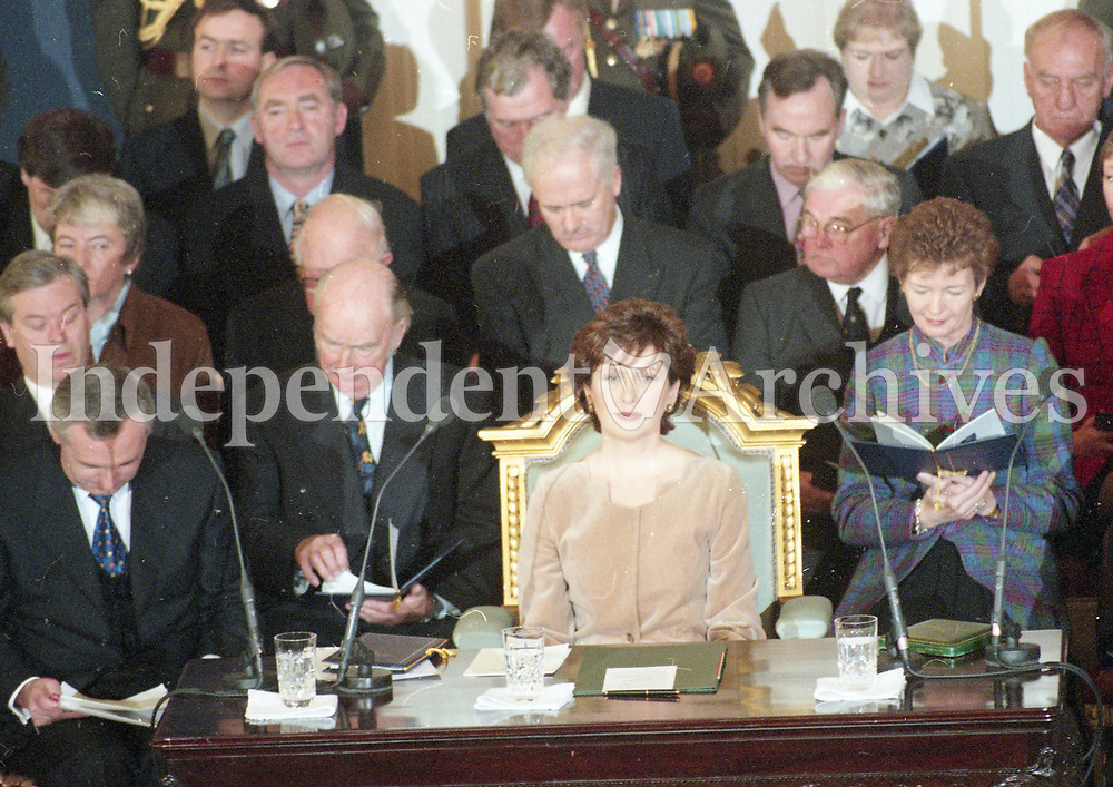 The Inauguration of Mary McAleese as the 8th President of Ireland in St Patrick's Hall, Dublin Castle, 11/11/1997 (Part of the Independent Newspapers Ireland/NLI Collection).