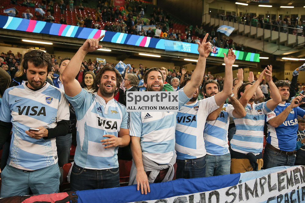 Argentine fans celebrate winning the Rugby World Cup Quarter Final, Ireland v Argentina, Sunday 18 October 2015, Millenium Stadium, Cardiff (Photo by Mike Poole - Photopoole)