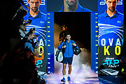 Novak Djokovic of Serbia walks onto court during the Nitto ATP Finals at the O2 Arena, London, United Kingdom on 12 November 2019.