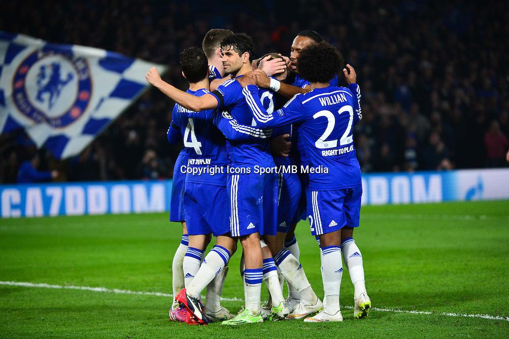 Joie Eden HAZARD / Diego COSTA - 11.03.2015 - Chelsea / Paris Saint Germain - 1/8Finale retour Champions League<br /> Photo : Dave Winter / Icon Sport