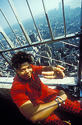 Queen Latifah on top of sky scraper, New York, U.S.A, 1980's.