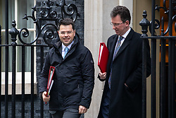 © Licensed to London News Pictures. 29/01/2019. London, UK. Housing, Communities and Local Government Secretary James Brokenshire and Secretary of State for Digital, Culture, Media and Sport Jeremy Wright QC leaves 10 Downing Street after attending a Cabinet meeting this morning. Photo credit : Tom Nicholson/LNP