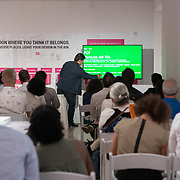 SEPTEMBER 27, 2017---MIAMI, FLORIDA---<br /> Architect Jorge Perez Jaramillo, from the Universidad de Santo Tom&aacute;s in Medellin, Colombia addresses the audience during his lecture.  This was part of the Miami Dade College series, By the People.<br /> (Photo by Angel Valentin/Freelance).