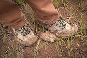 Clay stuck to hiking boots. High-desert of central Oregon near Clarno.