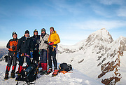 James Voortman, Andrew Haliburton, José (Pepe) Ramos-Vara, Carl Fatti and Brad Johnson on the summit of Pisco, at dawn on 22 June 2008.  Behind, from left to right, are the summits of Huandoy Norte (North) 6,395m and Huandoy Este (East) 6,068m.