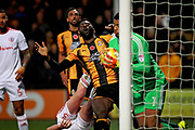 Cambridge Utd's forward Jabo Ibehre (14) misses a chance at the back post during the EFL Sky Bet League 2 match between Cambridge United and Accrington Stanley at the Cambs Glass Stadium, Cambridge, England on 11 November 2017. Photo by Nigel Cole.