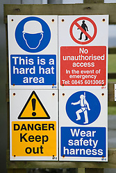 Safety notices at building site