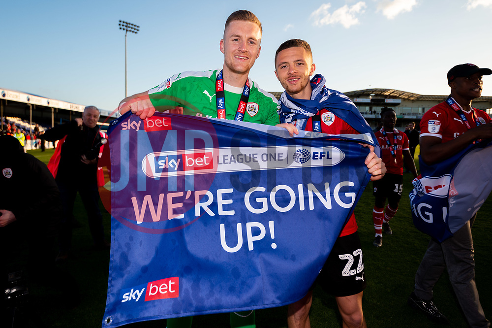 Jack Walton of Barnsley and Jordan Williams of Barnsley celebrates after the final whistle of the match after Barnsley secure automatic promotion to the Sky Bet Championship - Mandatory by-line: Ryan Hiscott/JMP - 04/05/2019 - FOOTBALL - Memorial Stadium - Bristol, England - Bristol Rovers v Barnsley - Sky Bet League One