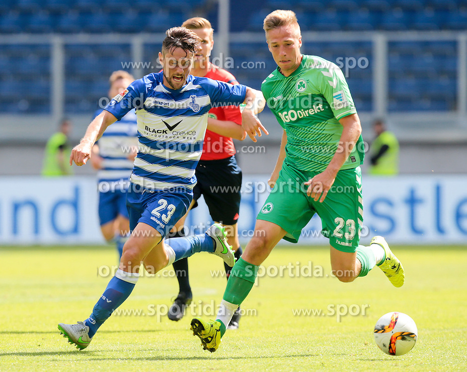 29.08.2015, Schauinsland Reisen Arena, Duisburg, GER, 2. FBL, MSV Duisburg vs SpVgg Greuther Fuerth, 5. Runde, im Bild v.l. James Holland (#23, MSV Duisburg) mit Marco Stiepermann (#23, SpVgg. Greuther Fuerth), // during the 2nd German Bundesliga 5th round match between MSV Duisburg and SpVgg Greuther Fuerth at the Schauinsland Reisen Arena in Duisburg, Germany on 2015/08/29. EXPA Pictures &copy; 2015, PhotoCredit: EXPA/ Eibner-Pressefoto/ Deutzmann<br /> <br /> *****ATTENTION - OUT of GER*****