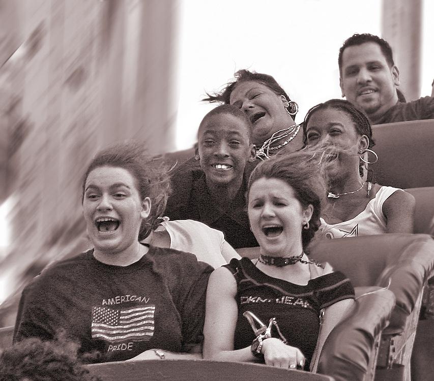 Funny Faces. Coney Island, Brooklyn's Cyclone roller coaster.