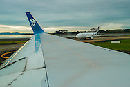 On the runway, ready for takeoff. Auckland airport.