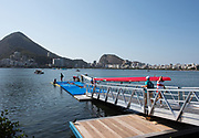 "Rio de Janeiro. BRAZIL. General View of the boating area, at the 2016 Olympic Rowing Regatta. Lagoa Stadium,<br /> Copacabana,  ""Olympic Summer Games""<br /> Rodrigo de Freitas Lagoon, Lagoa. Local Time 15:17:20  Friday  05/08/2016<br /> [Mandatory Credit; Peter SPURRIER/Intersport Images]"