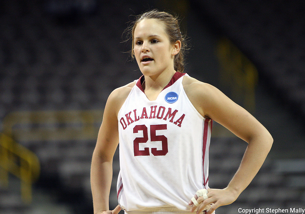 24 MARCH 2009: Oklahoma guard Whitney Hand (25) during an NCAA Women's Tournament basketball game Tuesday, March 24, 2009, at Carver-Hawkeye Arena in Iowa City, Iowa. Oklahoma defeated Georgia Tech 69-50.
