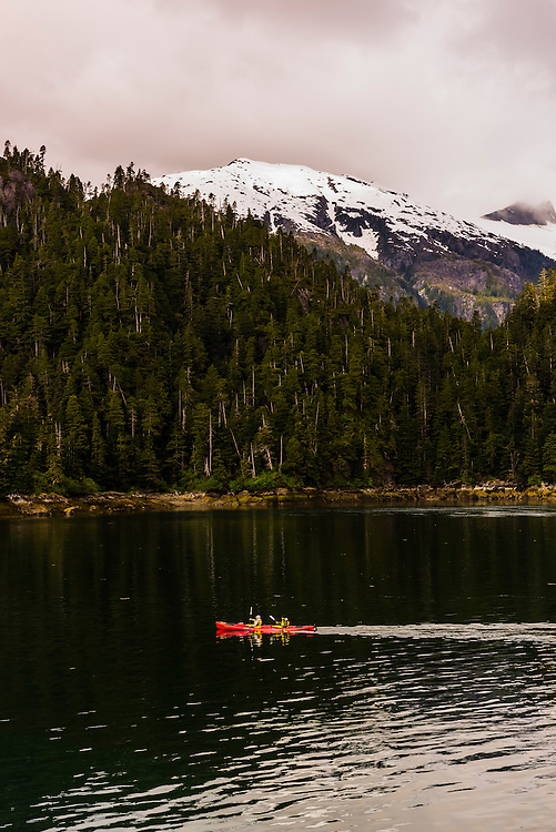 Sea kayaking, Takatz Bay, Baranof Island, Inside Passage, Southeast Alaska USA.