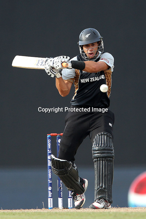 Ross Taylor (Captain) faces a delivery from Stuart Broad (Captain) of England  during the ICC World Twenty20 Super 8s match between England and New Zealand held at the  Pallekele Stadium in Kandy, Sri Lanka on the 29th September 2012<br /> <br /> Photo byRon Gaunt/SPORTZPICS/PHOTOSPORT