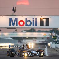 Sebring, FL - Mar 19, 2015:  The PR1 Mathiasen Motorsport ORECA FLM09 Chevrolet races through the turns at 12 Hours of Sebring at Sebring Raceway in Sebring, FL.