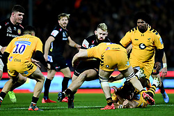 Tom Cruse of Wasps is tackled by Jack Willis of Wasps, - Mandatory by-line: Ryan Hiscott/JMP - 30/11/2019 - RUGBY - Sandy Park - Exeter, England - Exeter Chiefs v Wasps - Gallagher Premiership Rugby