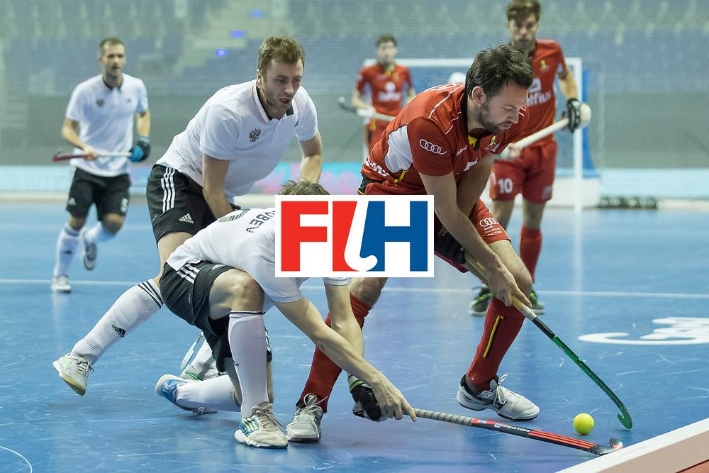 Hockey, Seizoen 2017-2018, 08-02-2018, Berlijn,  Max-Schmelling Halle, WK Zaalhockey 2018 MEN, Belgium - Russia 4-5, GOLUBEV Pavel (RUS) and JACOB Gilles (BEL). Worldsportpics copyright Willem Vernes