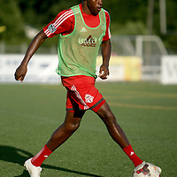 Toronto FC's Jackson warms up  Wednesday June 18, 2014 at Legion Stadium in Wilmington, N.C. (Jason A. Frizzelle)