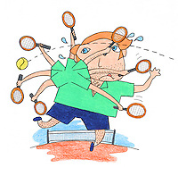 Crayon illustration of a tennis player trying to return a ball.   The racquet arm appears to be rotating with various attempts to hit the ball and the player is sweating.