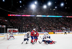 Patrick Thoresen of Norway vs Antoine Roussel of France and Pierre-Edouard Bellemare of France during the 2017 IIHF Men's World Championship group B Ice hockey match between National Teams of Norway and France, on May 6, 2017 in Accorhotels Arena in Paris, France. Photo by Vid Ponikvar / Sportida