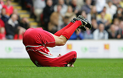 LIVERPOOL, ENGLAND - SUNDAY MARCH 27th 2005: Liverpool Legends' Ian Rush on the floor during the Tsunami Soccer Aid match at Anfield. (Pic by David Rawcliffe/Propaganda)