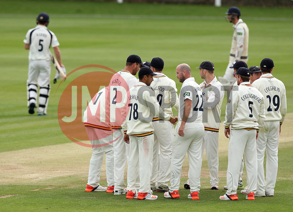 Middlesex's James Harris walks off after being dismissed by Durham's Chris Rushworth - Photo mandatory by-line: Robbie Stephenson/JMP - Mobile: 07966 386802 - 04/05/2015 - SPORT - Football - London - Lords  - Middlesex CCC v Durham CCC - County Championship Division One