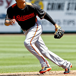 March 25, 2012; Clearwater, FL, USA; Baltimore Orioles shortstop Manny Machado in the field during the bottom of the first inning of a spring training game against the Philadelphia Phillies at Bright House Networks Field. Mandatory Credit: Derick E. Hingle-US PRESSWIRE